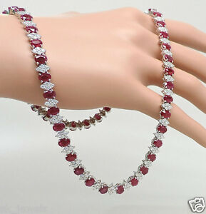 5.50ct NATURAL DIAMOND 14K SOLID WHITE GOLD RUBY WEDDING ANNIVERSARY NECKLACE