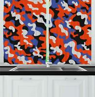 """Camouflage Kitchen Curtains 2 Panel Set Window Drapes 55"""" X 39"""" by Ambesonne"""
