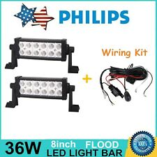 2X 8inch 36W Philips LED Light Bar Flood Off-road UTE JEEP Truck + Wiring Kit