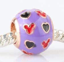 925 Silver purple Cartoon mice Charm Beads Fit European Charm Bracelet #E410
