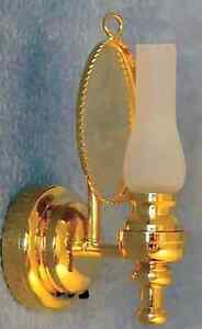 1/12TH SCALE DOLLS HOUSE LED BRASS MIRRORED OIL WALL LAMP WITH BATTERY