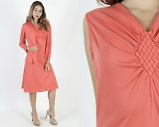 Vintage 70s Coral Disco Dress Set Cocktail Party Secretary 2 Piece Jacket Mini