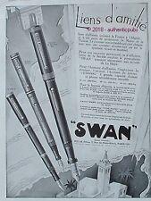 PUBLICITE SWAN PORTE PLUME LIENS D'AMITIE ETERNAL COLORE DE 1930 FRENCH AD PUB