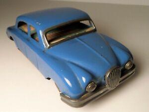 "Vintage 1950s Line Mar Toys Japan Tin Blue Sedan Car 6"" w/  Line Mar Label"