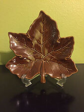 """1 Pottery Barn Brown Leaf Decorative/Salad Plate(s) Fall Maple 10"""" Harvest NEW"""