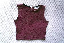 Glamorous Burgundy Textured Sleeveless Zip Back Cropped Top Size XS Brand New