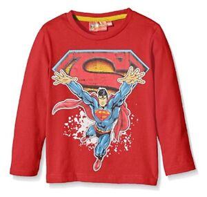 Boys Superman Top Age 7 8 Years Superhero Red Long Sleeve T Shirt NEW Comic Hero