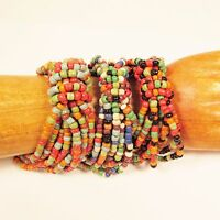 Set of 3 Bold Multi Color Handmade Beaded Stretch Elastic Seed Bead Bracelets
