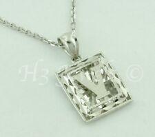 18k solid white gold filigree  initial V pendant #5252 h3jewels 2.00 grams