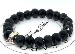 Schwarzes Thomas Sabo Charm-Perlenarmband, 17,5 cm (L), 925er Silber & Obsidian