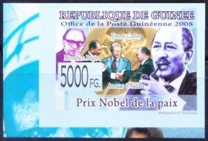 Guinea 2008 MNH Imperf, Anwar Sadat, Menahem Begin, Carter, Nobel Peace Winners
