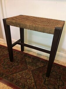 Vintage Woven Mid Century Rope Twine Wicker Rattan Wood Bar Counter Stool Bench