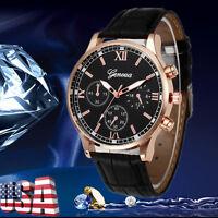GENEVA Men Retro Stainless Steel Analog Quartz Date Watches Military Wrist Watch