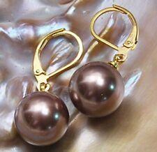 12mm Round Chocolate southsea shell pearl 14K GP Hook dangle earrings PE3