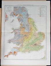 "1900 ""TIMES""  LARGE ANTIQUE MAP - ENGLAND AND WALES GEOLOGICAL MAP"