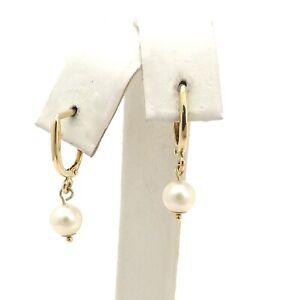 14k Gold 585 Freshwater Pearl Drop Dangle Leverback Earrings New