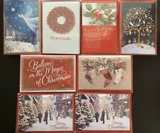128 Cards! Lot of 8 Boxes 16 Christmas Cards Each Glitter American Greetings New