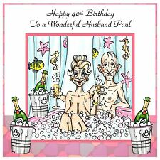 Mens Ladies Handmade Personalised Birthday Card  ANY AGE Bath Champagne Love