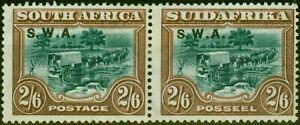 S.W.A 1927 2s6d Green & Brown SG65b P.14 x 13.5 Fine Mtd Mint