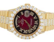 Mens 18K Yellow Gold Rolex President 36MM 18038 Day-Date Diamond Watch 16.1 Ct