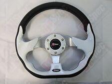 Carrera de D1 Cuero PU Estilo Plano 320mm D volante blanco FIT OMP Nardi Sparco