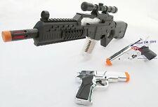 3x Toy Guns Electronic Special Forces Rifle w Sound 2x Silver 9MM Pistol Cap Gun