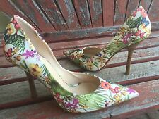 *TroPiCaL FloRaL NEW 7 GUESS Pointy Toe CARRIE Stilettos High Heels PUMPs White