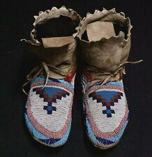 Antique Native American Woodlands Beaded Mocassins - 1870-1890 ca.