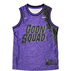 Nike LeBron x Space Jam Goon Squad Boys Basketball Jersey Purple Geometric L New