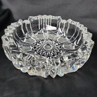"Vintage American Brilliant Heavy Crystal Clear Cut Glass Cigar Ashtray, 6 3/4"" D"
