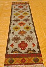 Vintage Geometric Tribal Kilim Runner Heriz Persian Oriental Wool Rug 2.6x10