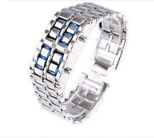 NEW Sub-Zero Samurai Inferno Mled-Lava-SB Steel Watch Blue LED Digital Numbers