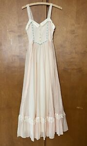 Vintage Gunne Sax Prairie Maxi Dress Cottagecore Lace Gauze Floral Wedding Rare