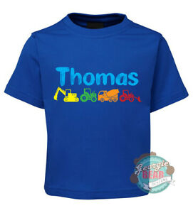 Vehicles! Personalised with name. Digger. Custom kids t-shirt, Blue or White.