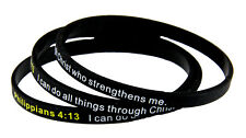 8130003 Set of 3 Philippians 4:13 Thin Silicone Bracelet Band I Can Do All Thing