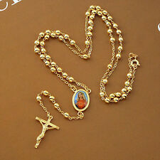 24 Inches 9K Real Yellow Gold Filled Rosary Pray Bead Mary Cross Necklace F4654