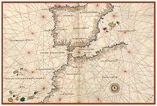Straits of Gibraltar Spain Portugal Nautical map Battista Agnese ca.1544