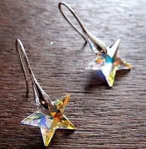 Stern Ohrringe Sternchen 20 mm in 3 Farben mit SWAROVSKI® ELEMENTS Sternkristall