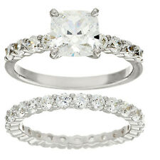 DIAMONIQUE PLATINUM PLATED STERLING SILVER CUSHION 100 FACET RING SET SIZE 8 QVC