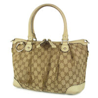 Auth GUCCI Sukey Logos GG Canvas Leather Tote Hand Bag Italy F/S 9207b