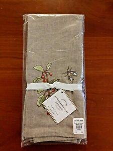 NEW Pottery Barn Guest Towels (2) Gardener Embossed Bee Bug Flower Linen Blend