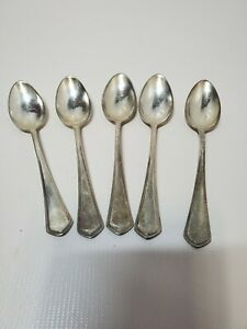 Vintage Silverplate Wellner 60 Floral Leaf Spoon set lot of 5