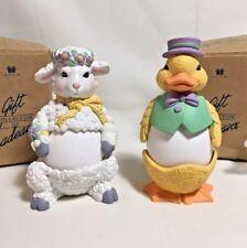 Pair of Avon Egg Pals Egg Cups Lamb Duck 1997 Decorative Kids