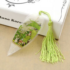 Totoro Bookmark Japanese Anime Exquisite Natural Leaf Vein KAWAII Tassel Gift