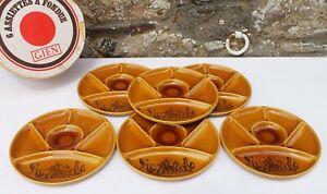 Ensemble de 6 assiettes à fondue en faïence de Gien France dans sa boite vintage
