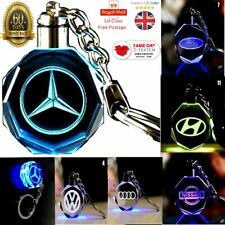 Car Logo Keychain Crystal Light Changing Color LED Light UK Car keyring Gift Box
