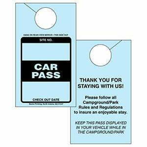 Car Pass Parking Permit Rearview Mirror Hang Tag for Campgrounds RV Parks Tra...