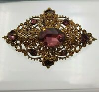 Vintage Czech Art Deco Amethyst Purple Glass Rhinestone Filigree Brooch