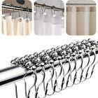 12 Piece Set Rustproof Stainless Steel Shower Curtain Rings Hooks Bathroom Rod