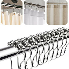 12 Piece Set Rustproof Stainless Steel Shower Curtain Rings Hooks Bathroom Rod